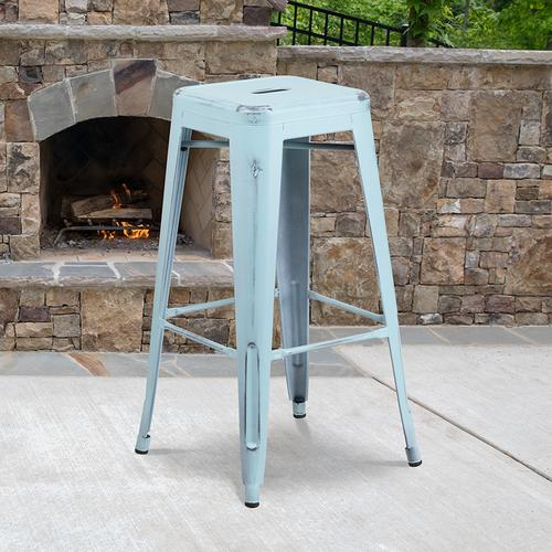 "Commercial Grade 30"" High Backless Distressed Green-Blue Metal Indoor-Outdoor Barstool"