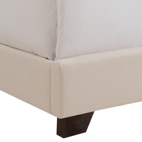 Tufted Nailhead Trimmed King Bed in Linen Beige