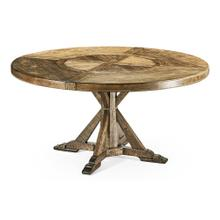 """60"""" Medium Brown Driftwood Round Dining Table with Inbuilt Lazy Susan"""