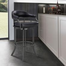 "Edy Swivel 30"" Mineral Finish and Black Faux Leather Bar Stool"