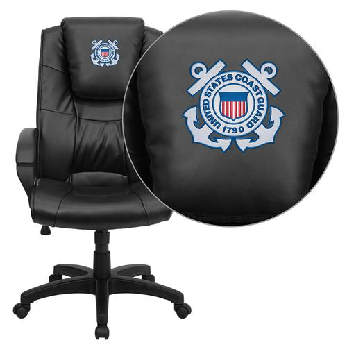 United States Coast Guard Embroidered Black Leather Executive Office Chair