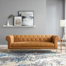 Idyll Tufted Button Upholstered Leather Chesterfield Sofa in Tan