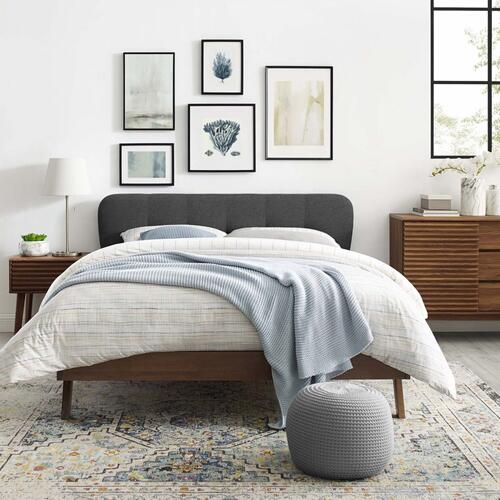 Gianna Queen Upholstered Polyester Fabric Platform Bed in Gray