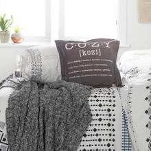 Lodge - Throw Pillow Cozy with Throw Blanket, Matte Charcoal