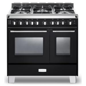 "Matte Black Verona Classic 36"" Gas Double Oven Range"