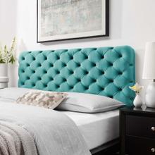 Lizzy Tufted Full/Queen Performance Velvet Headboard in Teal