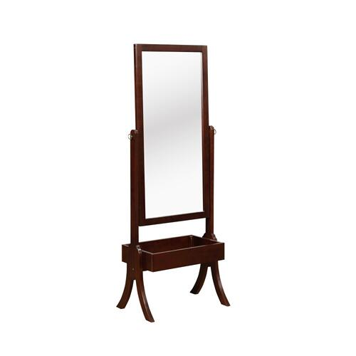 Built-in Rectangle Bin Cheval Mirror, Cherry