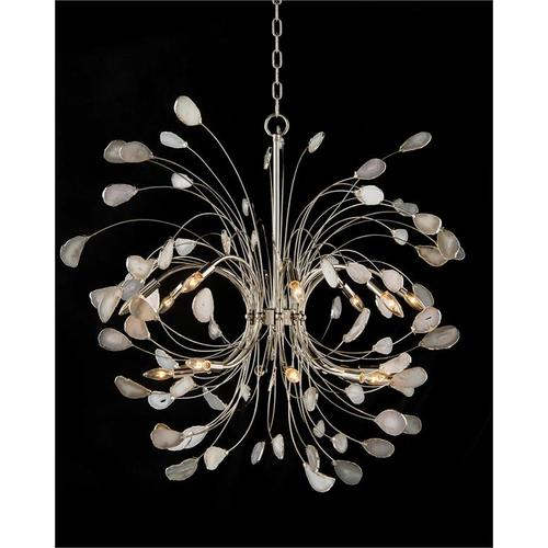 Agate and Nickel Sixteen-Light Chandelier