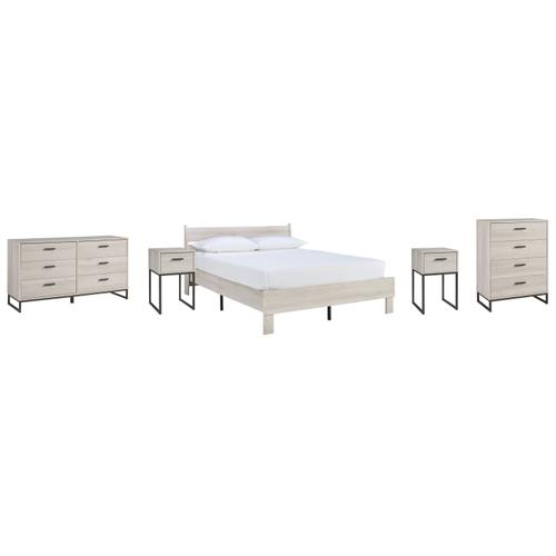 Queen Platform Bed With Dresser, Chest and 2 Nightstands