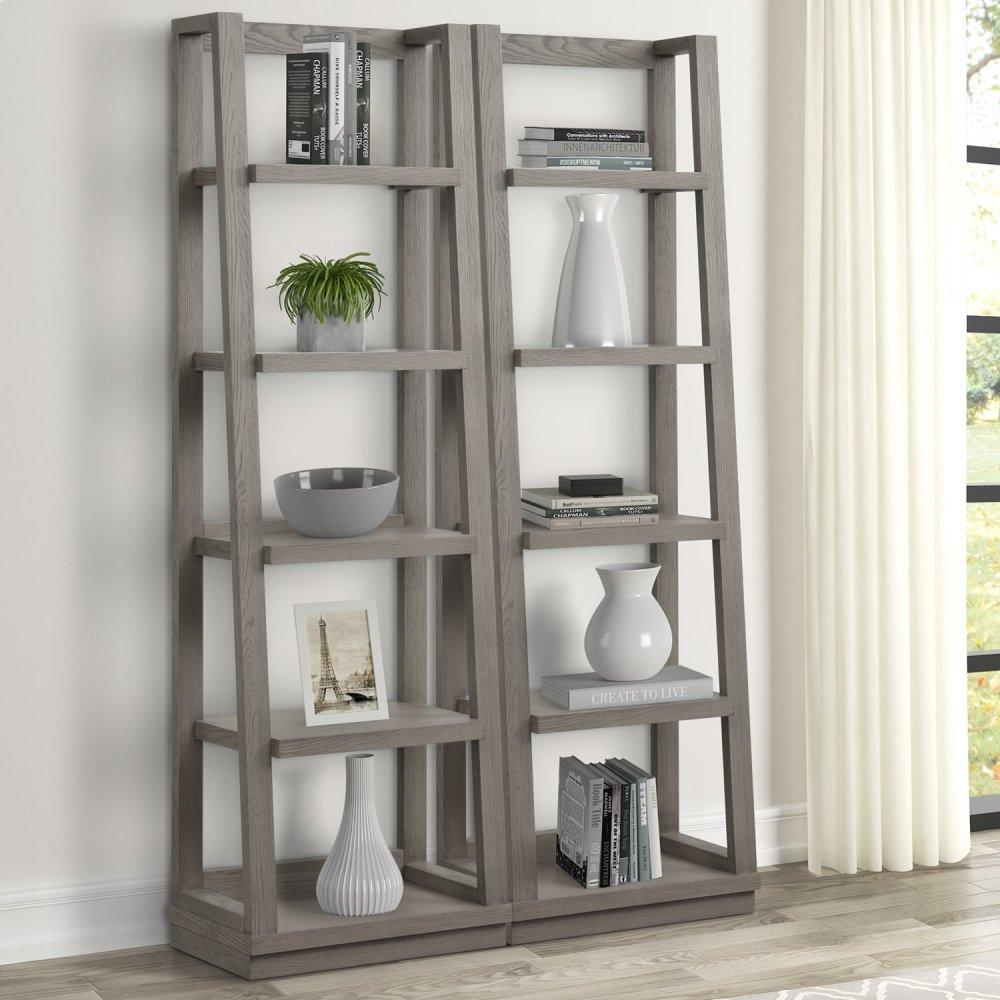 PURE MODERN Pair of Angled Etagere Bookcase Piers