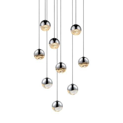 Sonneman - A Way of Light - Grapes® LED Pendant [Size=9-Light Small, Color/Finish=Polished Chrome, Shape=Round Canopy]