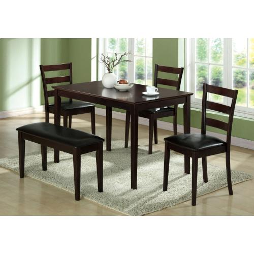 DINING SET - 5PCS SET / ESPRESSO BENCH & 3 SIDE CHAIRS