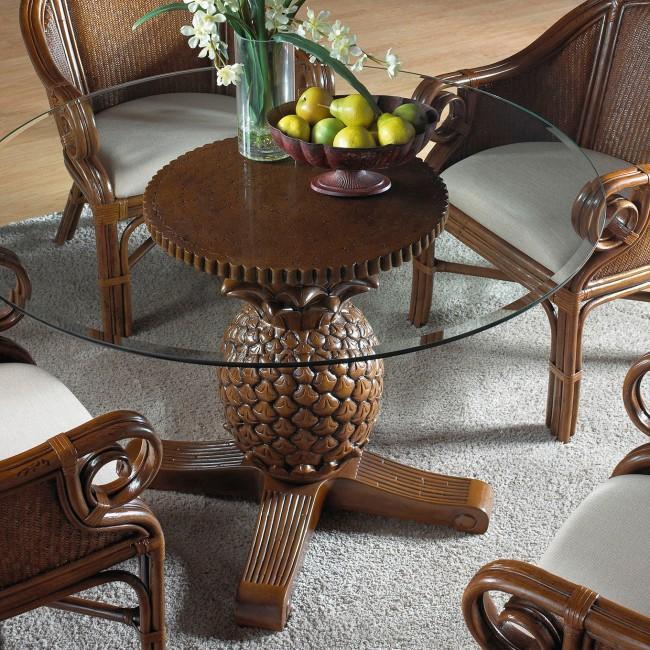 Havana Palm Indoor Rattan Wicker, Pineapple Dining Room Set