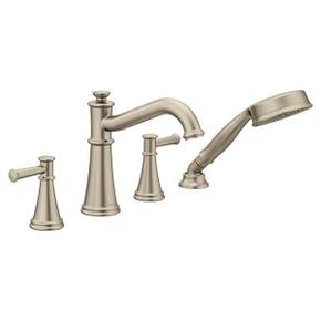Belfield brushed nickel two-handle roman tub faucet includes hand shower