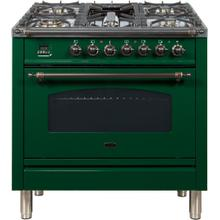 Nostalgie 36 Inch Dual Fuel Natural Gas Freestanding Range in Emerald Green with Bronze Trim