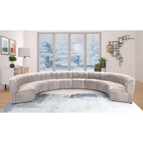 "Limitless Modular Velvet 10pc. Sectional - 173"" W x 118"" D x 31"" H"