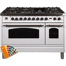 Nostalgie 48 Inch Dual Fuel Natural Gas Freestanding Range in Custom RAL Color with Bronze Trim