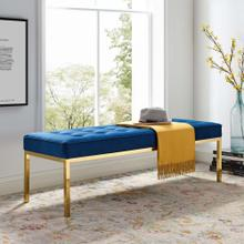 Loft Gold Stainless Steel Leg Large Performance Velvet Bench in Gold Navy