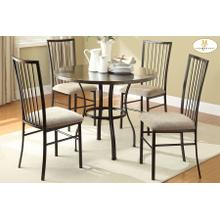 5-Piece Pack Dinette Set Table : 40 Dia x 30H Chair : 17 x 21 x 38H
