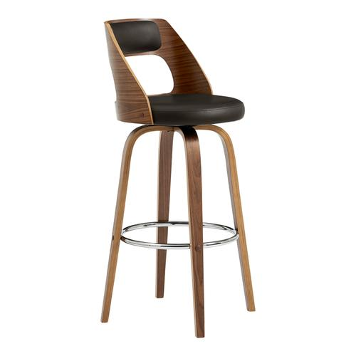 """Armen Living - Axel 26"""" Swivel Counter Stool in Brown Faux Leather and Walnut Wood"""