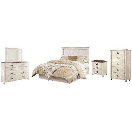 Gallery - Queen/full Panel Headboard With Mirrored Dresser, Chest and Nightstand