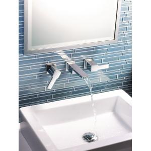 90 Degree brushed nickel two-handle wall mount bathroom faucet