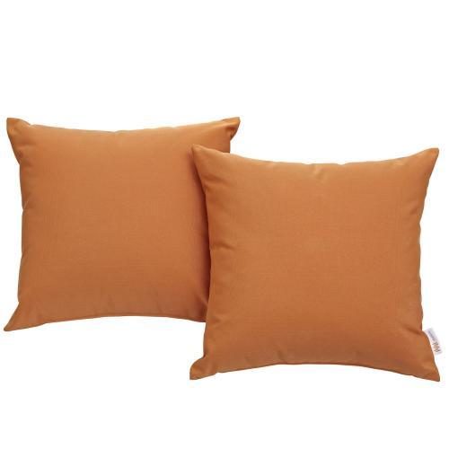 Convene Two Piece Outdoor Patio Pillow Set in Orange