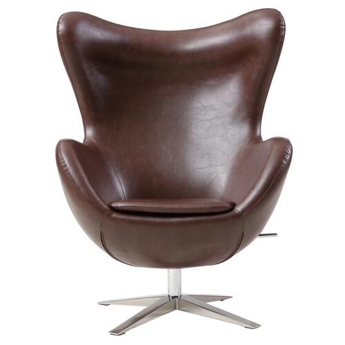 Max PU Swivel Rocker Accent Chair Chrome Legs, Distressed Brown