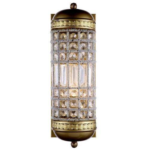Olivia 1 light French Gold Wall Sconce Clear Royal Cut Crystal