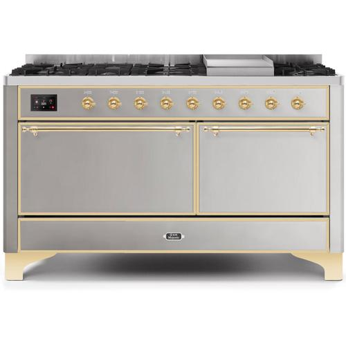 Majestic II 60 Inch Dual Fuel Natural Gas Freestanding Range in Stainless Steel with Brass Trim