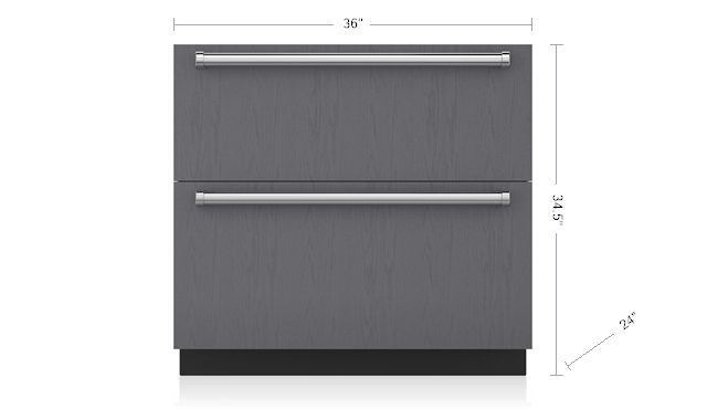 "Subzero36"" Designer Refrigerator Drawers - Panel Ready"