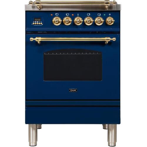 Nostalgie 24 Inch Dual Fuel Natural Gas Freestanding Range in Blue with Brass Trim