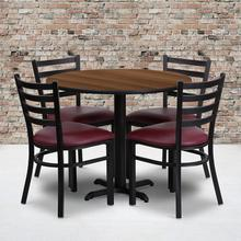 Product Image - 36'' Round Walnut Laminate Table Set with X-Base and 4 Ladder Back Metal Chairs - Burgundy Vinyl Seat