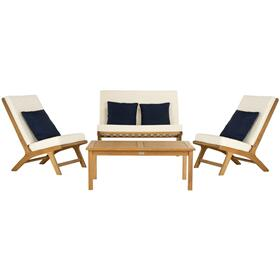 Chaston 4 PC Outdoor Living Set With Accent Pillows - Natural / White / Navy
