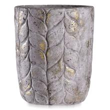 See Details - ALCAMN GREY  14in w X 17in ht X 14in d  Tall Leaf Textured Artative Eco Paper Pot