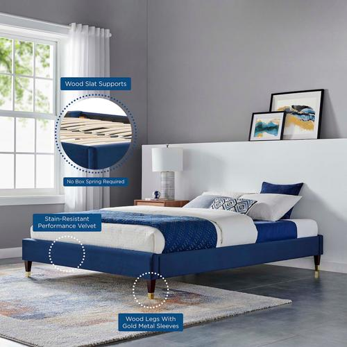 Harlow Queen Performance Velvet Platform Bed Frame in Navy