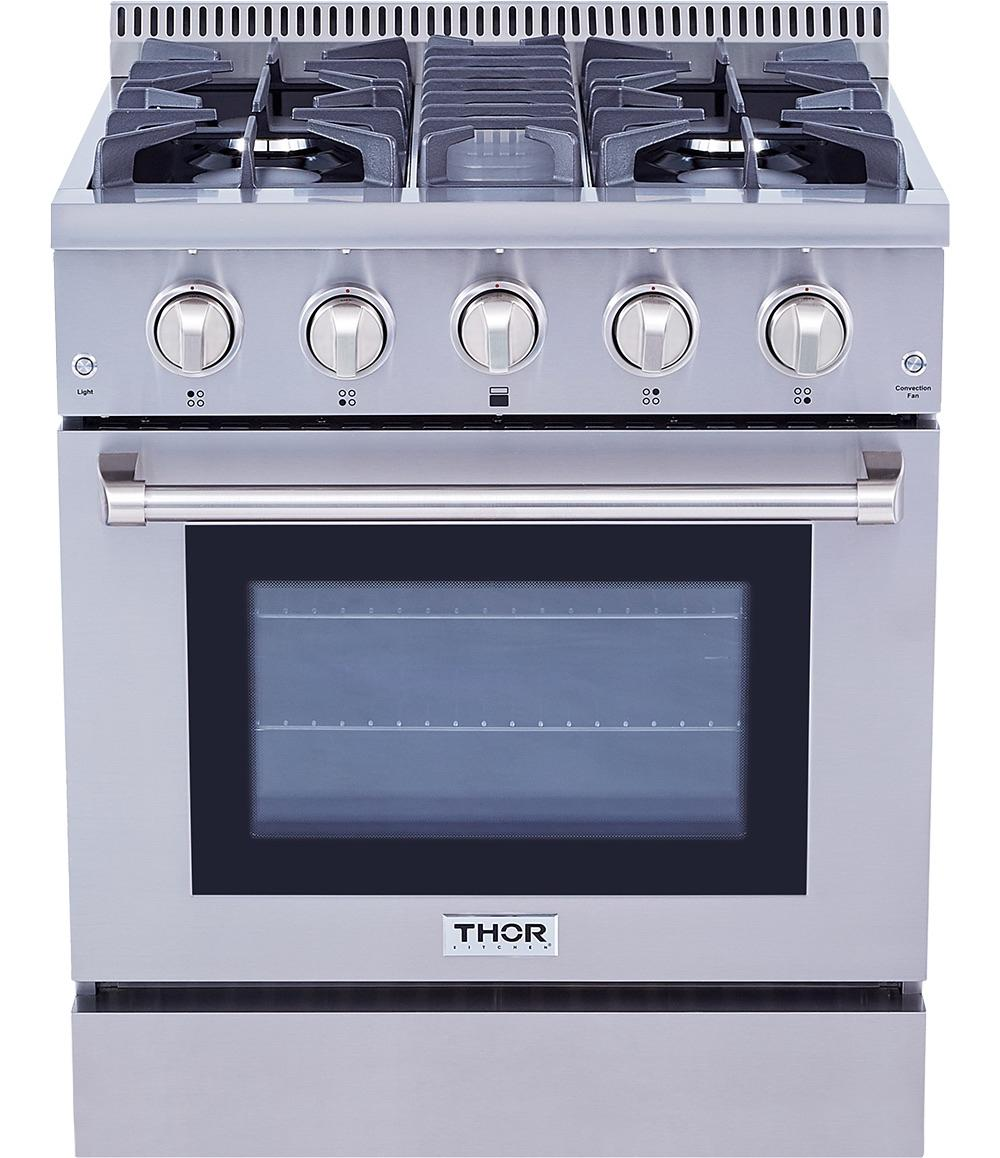 Thor KitchenProfessional 30 Inch Dual Fuel Range In Stainless Steel