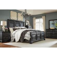 Cambridge Heritage 5-Piece Bedroom Suite: Queen bed, Dresser, Mirror, Chest, and Nightstand, Black Rub, 98118A5Q1-BK