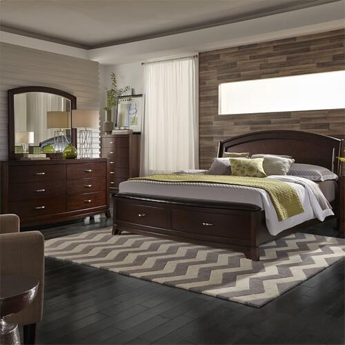 King California Panel Storage Bed, Dresser & Mirror