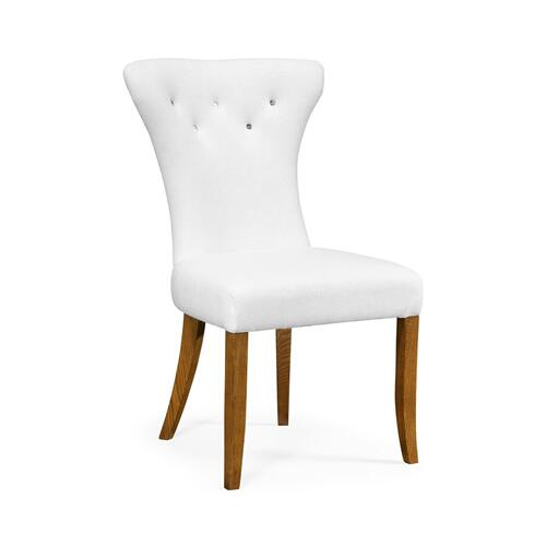 Gibson English Chestnut Side Chair, Upholstered in COM by Distributor
