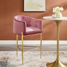 Savour Tufted Performance Velvet Bar Stool in Dusty Rose