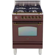 Product Image - Nostalgie 24 Inch Gas Natural Gas Freestanding Range in Burgundy with Bronze Trim