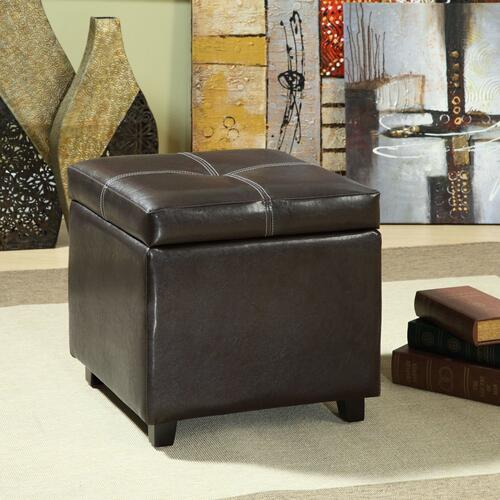 Treasure Upholstered Vinyl Ottoman in Espresso