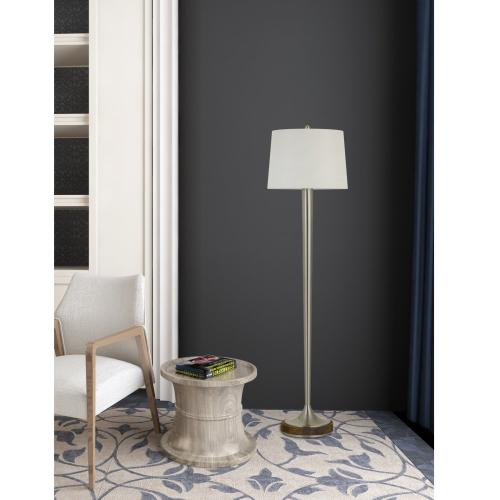 150W 3 Way Chester Metal Floor Lamp With Wood Accent Base