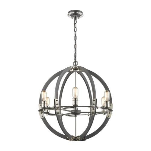 Riveted Plate 6-Light Chandelier in Silverdust Iron