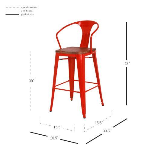 Metropolis Metal Bar Stool Wood Seat, Red