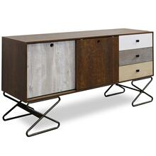 HOURGLASS MEDIA CONSOLE  32in X 62in  Contemporary Media Console with a Black Steel Base