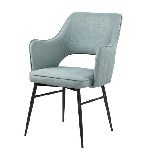 Upholstered Open Back Dining Chair in Sea Glass Blue
