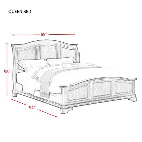 Elements - Cameron Cherry Queen Panel Bed