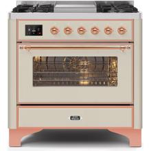 Majestic II 36 Inch Dual Fuel Liquid Propane Freestanding Range in Antique White with Copper Trim